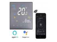 Termostato WiFi per Caldaia a Gas/Acqua,Termostato intelligente Schermo LCD(Pannello spazzolato) Touch Button Retroilluminato Programmabile con Alexa Google Home e Telefono APP